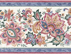 Peacock Flowers Floral Blue White Rose  Pink Sheen Satin Wallpaper Wall Border