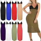 Ladies Bodycon Midi Dresses Womens Floral Lace Bralet V Neck Thin Strappy Pencil
