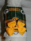 DOG CAT FERRET Harness~NFL Football Team Plaid Green Bay PACKERS w/ BOW & LACE