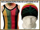 MENS 100% COTTON STRING VEST & CANNABIS LEAF GREEN WEED BEANIE HAT RASTA STRIPES