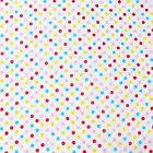 Small Colourful Spots On White Cotton Fabric - Choice of Sizes ( FREE P&P )