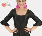 New Girls Spanish Flamenco Black 3/4 Frill Sleeve Leotard Dance