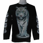 WHITE WILD WALKING TIGER GRIM BIKER SKULL PRISON CHOPPER MENS L/S T-SHIRT