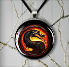 ASIAN DRAGON IN FIRE PENDANT NECKLACE  -b4t5m