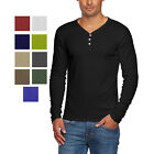 Alta Men's Slim Fit V Neck Long Sleeve Cotton T-Shirt with 3 Button Up Opening