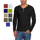 Alta Men's Slim Fit V Neck Long Sleeve Cotton T-Shirt with 3 Button Up Opening image