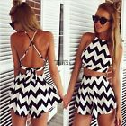 2pcs Women Ladies Backless Jumpsuit Romper Playsuit Trousers Bodycon Clubwear