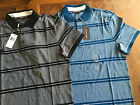NWT Michael Kors Mens Birdseye Striped Polo Shirt Short Sleeve Black Blue S/M/L