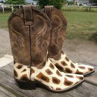Women's Nocona giraffe stingray print leather Cowboy /Western Boots snip toe