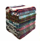 recycled all wool LARGE picnic rug blanket throw - random checks