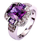 Men Women Amethyst & White Topaz Gemstone Silver Jewelry Ring Size O Q S T1/2