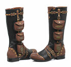 Black Brown Steampunk Womans Burner Road Warrior Knee Boots Utility size 9 10 11