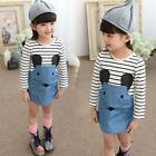 Cute Baby Kid Girl Long Sleeve Striped Dress Summer Short Dress Clothes for 2-6Y