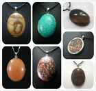 30x40MM Natural Multicolor Gemstones Oval Pendant Necklace AAA 1pcs PS0095A