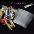 2 SIZE CLEAR CELLOPHANE LOLLIPOP BAGS / DISPLAY BAGS/COOKIES/SWEETS