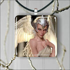 ELF WARRIOR WHITE WINGS SILVER HELMET SQUARE PENDANTS SIZE M. OR L. -sdf6Z