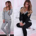 New Womens 2Pcs Tracksuit Casual Hoodies Sweatshirt Pants Jogger Sportswear Set