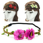 Women's 2 Roses Wreath Headband Floral Party Crown Hair Wear Boho Style Hairband
