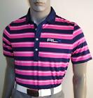 (RLX-PNK) RLX Ralph Lauren 2016 TOUR Striped Stretch Jersey Golf Polo Shirt $90