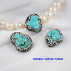 1Pcs Blue Turquoise CZ Pave Connector Beads DIY Jewelry Making Side Hole HJA016