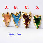 1Pcs Arrowhead Gear Rainbow Glass Horn Gold Plated Pendant DIY NEW HOT HG0687