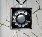ROTARY DIAL VINTAGE BLACK PHONE PENDANT NECKLACE -sed5Z