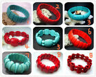 "New Fashion Blue  Red Turquoise Beads Stretch Gemstone Bracelet 8"" BB02A"
