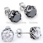 Pair 316L Stainless Steel Clear Round CZ GEM Crystal Ear Stud Earrings Jewelry