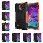 For Samsung Galaxy Note 4 N9100 Heavy Duty Kickstand PC Rubber Rugged Case Cover