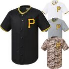 pittsburgh pirates mlb Baseball Stripe Open Tshirts sports wear Jersey shirt Top