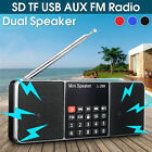Mini Portable LCD FM Radio Stereo Speaker MP3 Music Player Micro SD TF USB AUX