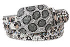 Animal Print Genuine Leather Studded Belt with Crystal Buckle