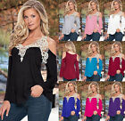 1x Summer Women Loose Casual Long Sleeve Sexy Lace T-Shirt Blouse Tops Plus Size