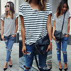Women Fashion Striped Short Sleeve Casual Loose T-Shirt Tops Blouse Tee Shirt LA