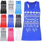 Womens Ladies Racer Muscle Back Dream on Sleeveless Cotton Vest T Shirt Top