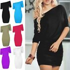 Womens Ladies Off Shoulder Bardot Batwing Side Ruched Stretch Bodycon Midi Dress