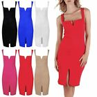 Womens Wide Strap V Neck Midi Dress Ladies Party Front Split Pencil Bodycon 8-22