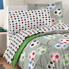 nEw SOCCER BALLS BEDDING SET - Grey Football Comforter Sheets Pillowcases Shams