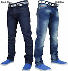 NEW MENS CROSSHATCH STRAIGHT LEG DARK BLUE JEANS SMALL TO KING SIZE SIZE