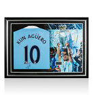 Framed Sergio Aguero Number 10 Signed Manchester City Shirt 2015-16 - Panoramic