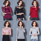 Elegant Womens Lace Flowers Blouse Tops Office Lady Long Sleeve Tee Shirts