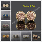 1Pair 8mm Titanium Natural Agate Druzy Studs With Bezel Gold Plated Edge HG0198