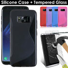 S-Line Wave TPU Gel Case + Tempered Glass Screen Protective For Samsung Galaxy