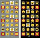 Expressions Emoji Beach Towel Grey Black Summer Holiday Faces Emoticons 75x150cm