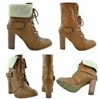 Womens Block Heel Fold Over Fleece Cuff Lace Up Ankle Booties Camel Sz 5.5-10
