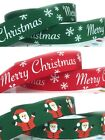 New Reel Chic Merry Christmas Santa Ribbon Red Green Grosgrain 16mm x 2m