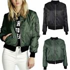 Womens Ladies Vintage Zip Up Classic Padded Bomber Jacket Biker Coat Stylish New