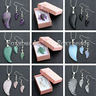 HOT Gemstone Crystal Angel Wing Pendant Chain Necklace Earring Set + Box Gift