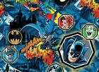 BATMAN JOKER characters on blue : 100% LICENSED cotton  : By the 1/2 metre