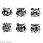 JP 10PCs Silver with Rhinestone Charms Beads For European Bracelet 9x10mm